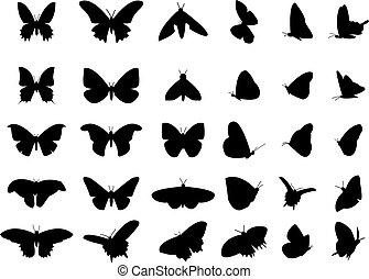 conjunto, de, vuelo, mariposa, silueta, aislado, vector, objeto