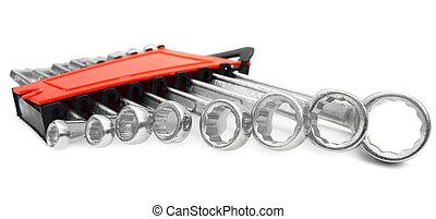 conjunto, de, wrenches., en, un, blanco, fondo.