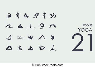 conjunto, de, yoga, iconos