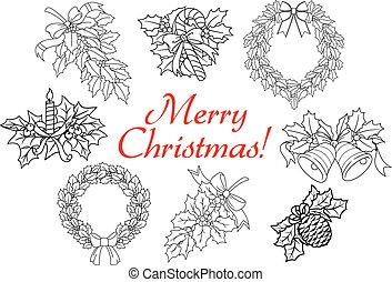 conjunto, decoraciones, año, nuevo, feriado, navidad