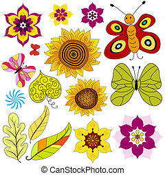 conjunto, decorativo, aislado, flores, y, mariposas