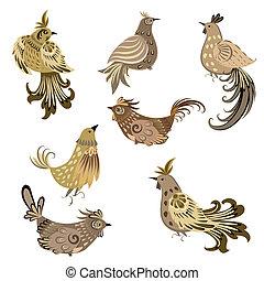 conjunto, decorativo, pájaro