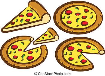 conjunto, delicioso, pizza