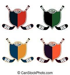 conjunto, deporte, hockey, crestas