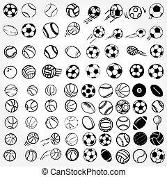 conjunto, deportes de pelota, iconos, símbolos, cómico