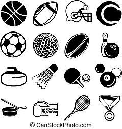 conjunto, deportes, icono