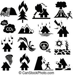 conjunto, desastre natural, icono