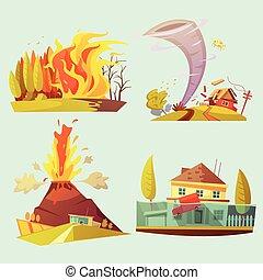 conjunto, desastre natural, iconos, retro, 2x2, caricatura