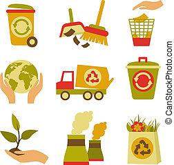 conjunto, desperdicio, ecología, icono