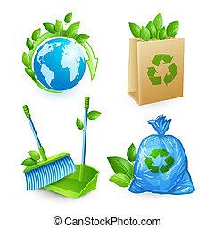 conjunto, desperdicio, ecología, iconos