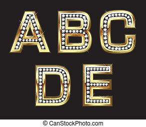conjunto, diamante, cartas, oro