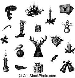 conjunto, dibujado, mano grande, símbolos, vector, año, ...