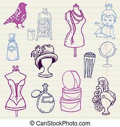 conjunto, dibujado, -, mano, vector, diseño, doodles, álbum ...