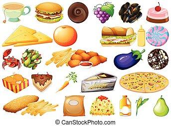 conjunto, diferente, alimento