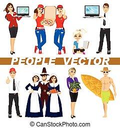 conjunto, diverso, caracteres, gente