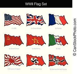 conjunto, dos, bandera ondeante, mundo, guerra
