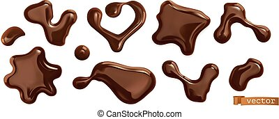 conjunto, drops., 3d, vector, realista, chocolate