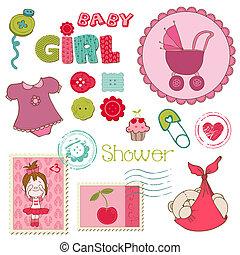 conjunto, -, ducha, elementos, diseño, bebé, álbum de recortes, niña