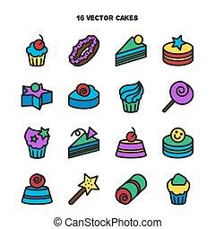 conjunto, dulce, dulce, colección, panadería, icons., pastel