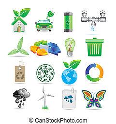 conjunto, ecología, iconos