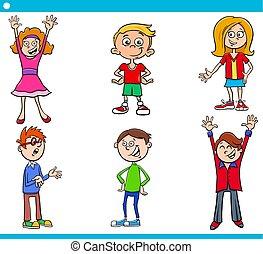 conjunto, edad, niños, caracteres, elemental, caricatura
