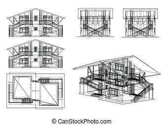 conjunto, edificio., vector