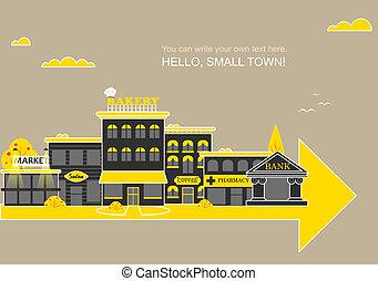 conjunto, edificios, de, pequeña empresa, plano, diseño
