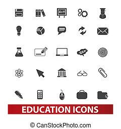 conjunto, educación, vector, iconos