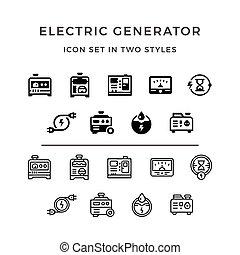 conjunto, eléctrico, generador, iconos