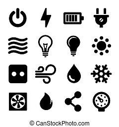 conjunto, eléctrico, iconos