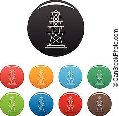 conjunto, eléctrico, iconos, color, poste, vector
