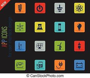 conjunto, electricidad, icono