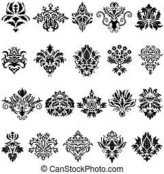 conjunto, emblema, damasco