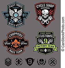 conjunto, emblema, motocicleta