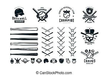 conjunto, emblemas, equipo béisbol, campus, insignias