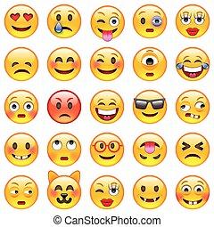 conjunto, emoticons., emoji