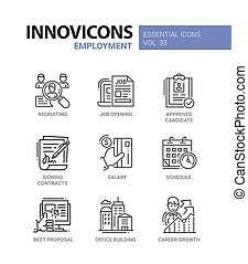 conjunto, employment-, iconos, moderno, vector, línea