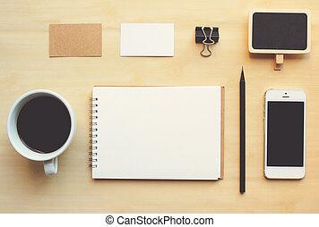 conjunto, empresa / negocio, branding, arriba, efecto, ...