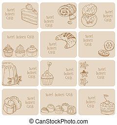 conjunto, empresa / negocio, dulces, -, mano, postres, vector, tarjetas, dibujado, pasteles
