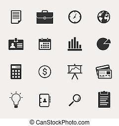 conjunto, empresa / negocio, icono