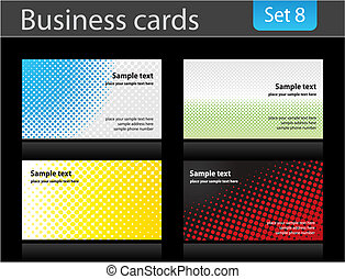 conjunto, empresa / negocio, tarjetas.