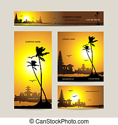 conjunto, empresa / negocio, tropical, diseño, tarjetas, ocaso, su