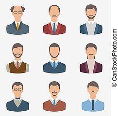 conjunto, empresarios, frente, retrato, de, machos, aislado,...