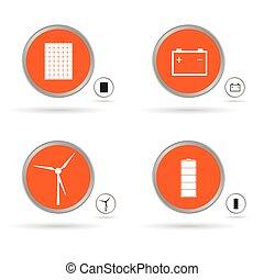 conjunto, energía, icono, en, círculo anaranjado, vector