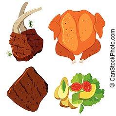 conjunto, ensalada de carne, estaca