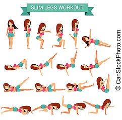 conjunto, entrenamiento, delgado, piernas, cardio, ejercicio