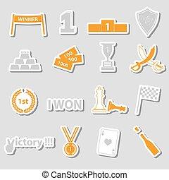 conjunto, eps10, color, símbolos, perfecto, victoria,...