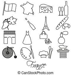 conjunto, eps10, contorno, iconos, país, francia, símbolos, tema