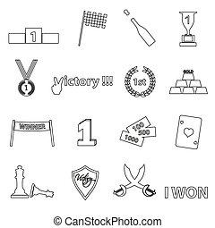 conjunto, eps10, contorno, iconos, símbolos, perfecto,...