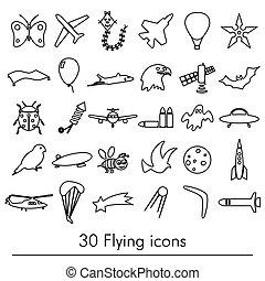 conjunto, eps10, contorno, iconos, vuelo, símbolos, tema